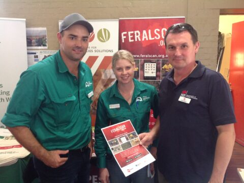 Western Landcare representatives discuss RabbitScan with Peter West at a NSW Landcare Coordinators meeting.